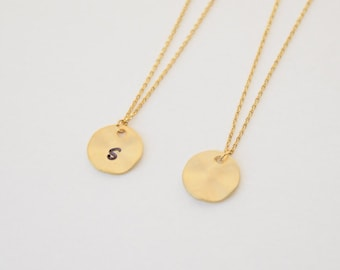 Personalized Jewelry, Gold Hammered Disc Necklace, Gold Disc Necklace, Gold Jewelry, Layering Jewelry