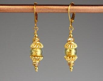 """Venetian Murano glass Earrings, venetian glass earings, Gold Earrings, Gift for her, Art Deco Earrings -Valentines day jewelry - """"Ella Gold"""""""