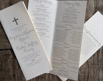 Folded Gold Cross Wedding Program