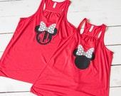 WOMENS Minnie Mouse Bow Loose Racerback Tank Top Disney Trip Bachelorette Party Family Reunion