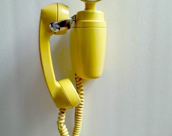 """1961' Yellow & Chrome 'Automatic Electric' wall Telephone 'Lemon Meringue' """"Space-Maker"""" Fully Functional,Refurbished for Use.9 inches.Rare"""
