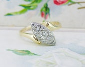 Vintage 1940s Engagement Ring | Unique Diamond Cluster Ring | Retro 14k Yellow Gold Cocktail Ring | Mid Century Engagement Ring | Size 8.5