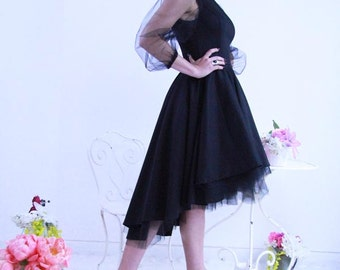 High low black dress, hi lo dress, short black dress, cap sleeve black dress, V neck dress, V neck prom dress, evening wear, evenig dress