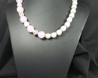 White and Pink Crystal Bead Necklace