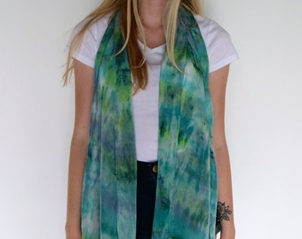 Silk Scarf-- Hand-dyed silk scarf-- Green and Blue scarf-- Crepe silk scarf-- Scarf with fringe