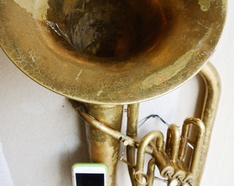 SALE - Bluetooth Speaker - iPhone Speaker Horn - Brass Instrument - Acoustic iPhone Speaker - iPhone Player/Dock - iPhone Horn - Baritone