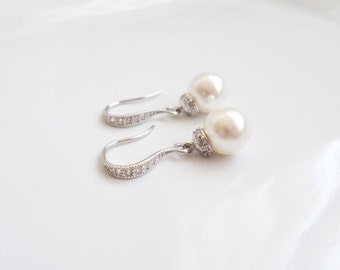 FREE United States Shipping Swarovski Pearl Drop Bridal Earrings Bridal Jewelry Pearl And Cubic Zirconia Bridal Earrings Bridesmaid Gift
