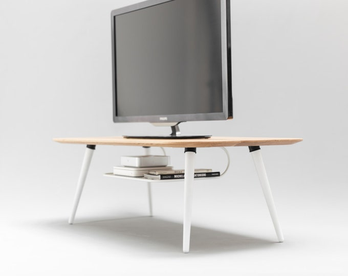 Mid Century, Modern, TV table , TV stand made of solid oak board