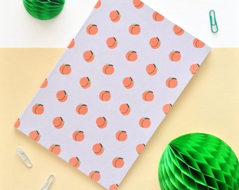 Sassy Peach patterned A5 notebook / Hand-painted design / Illustration