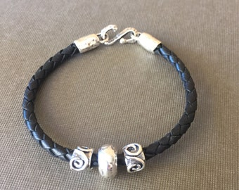 Black Leather Bracelet with Sterling Silver Beads/Doughnut and 64/ and Sterling Clasp/Rustic/Artisan