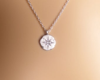 Star burst pendant Necklace,Dainty Necklace,Hammered disk Necklace,Minimalist Jewelry,Layering Necklace,Pendant Necklace