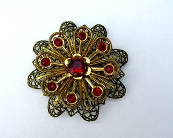 Antique Flower Filigree Brooch Antique Brooch Bronze Brooch Red Gemstone Gold Tone Flower Brooch