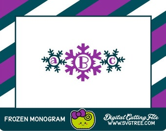 Snow Princess Monogram, Snowflake SVG, Frozen Monogram, SVG Files, Vector Art, Cricut Design Space, Silhouette Studio, Digital Cut Files