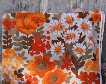 unused deco fabric curtain fabric by the yard 60s 70s yellow orange flowers