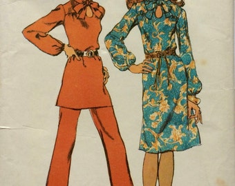 Vintage Simplicity Sewing Pattern 9604 Dress or Tunic and Pants, Size 16 Bust 38