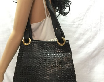 Woven Leather purse, Large, purse,bag,shoulder bag,Italy ,Black leather, Soft, Made in Italy