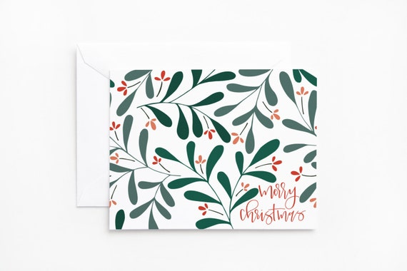 SALE | Christmas Card Set | Illustrated Floral Christmas Cards with Hand Lettering : Merry Christmas Card