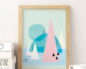 Abstract Art Print, Geometric Wall Art, Scandinavian Inspired Poster, Home & Nursery Decor in Pastel colours, A3 Print