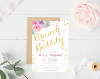Floral, Watercolor, Gold, Pastel, Girly, Brunch, Bubbly, Bridal Shower Invitation, Polkadots