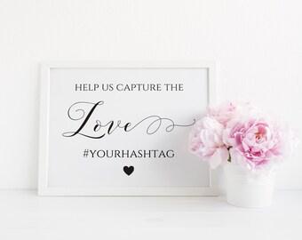 Wedding Hashtag Sign, Capture the Love Wedding Sign, Wedding Hashtag Printable, Editable hashtag Sign, Wedding Decor. Instant Download. WC3