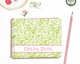Delta Zeta | Set of 8 Folded Notes with Envelopes | Sorority Big Little Reveal Gift | Pink  and Green | DZ-SA2