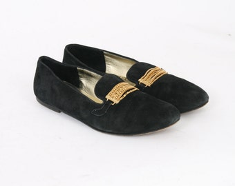 HANDMADE Womens 7 US 8 B Joan & David Black Suede Leather Italian Gold Chain Vintage Loafers Flats Slip On Shoes