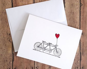 Blank Bike Card, Love Note Card, Engagement Card, Anniversary Card, Bicycle Lover Card, Love Card, Tandem Bicycle, Just Because Card