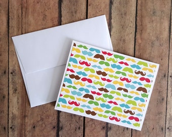 Mustache Card, Masculine Card, Hipster Card, Card for Dad, Card for Him, Birthday Card, Father's Day Card