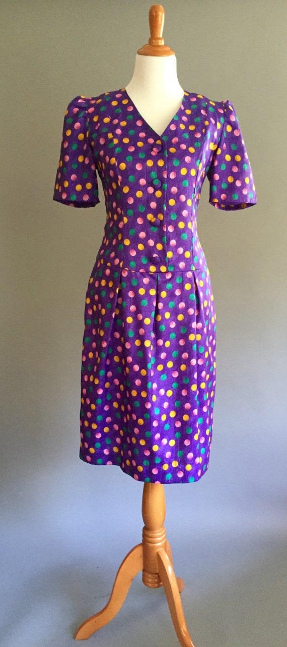 80s Polka Dot Party Dress :Tea Length (M/L)