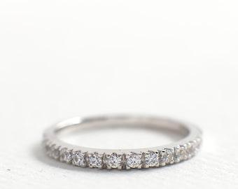 2mm Half Eternity Wedding Band - CZ Diamond Wedding Ring - Stacking Ring - Dainty Thin Band - Micro Pave Ring