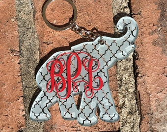 Monogram Initial Elephant Keychain   Monogram Keychain   Personalized Keychain