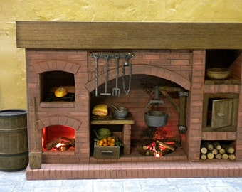 Dollhouse miniature fire tudor medieval cottage for Tudor fireplaces