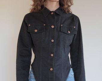 90's JPG Jean Paul Gaultier wasp waist jeans jacket, Junior Gaultier hour glass corset silhouette