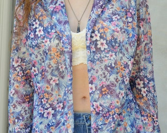 Vintage Floral Open-Front Collared Shirt
