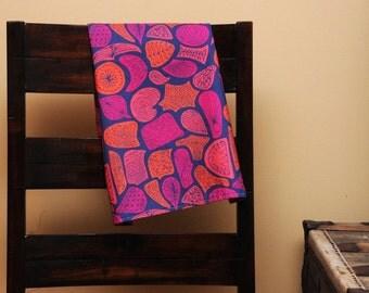 Linen Kitchen Tea Towel Navy Citrus