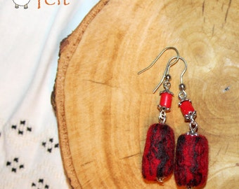 Red Earrings, felt earrings, Felted Jewelry for Her, Gift for Her, Gift for Mother,