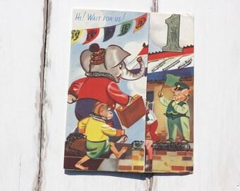 Anthropomorphic, elephant, chimp, pig, vintage train, first birthday card, vintage greetings, nursery art, mid century  (gree/ki26)