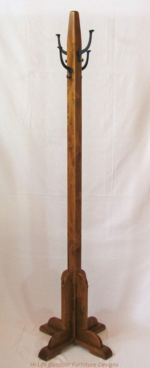 Coleman Coat Tree Handmade Alder Wood 4 Cast Iron Hook Hat