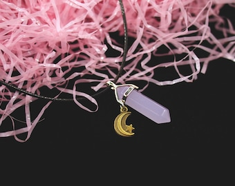 Lavender Jade Crystal Necklace or Crystal Choker / Pastel Lilac Crystal Gem Necklace with Moon and Star Charm / Kawaii Pastel Goth Grunge