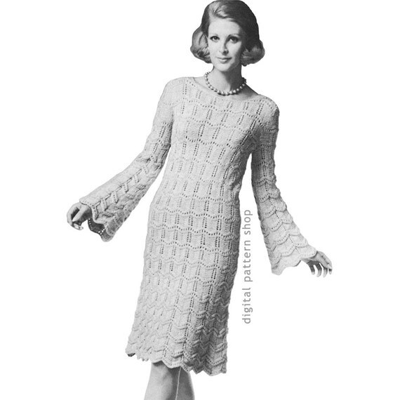 Trumpet Sleeve Dress Knitting Pattern Vintage Knit Dress