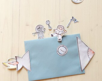Printable Space Friends Paper Toy with twelve items to colour cut and build INSTANT DOWNLOAD