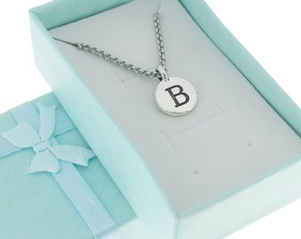 Antique Silver Pewter Initial Charm Necklace.  Initial Necklace. Initial Charm. Initial Jewelry. Letter B. necklace.