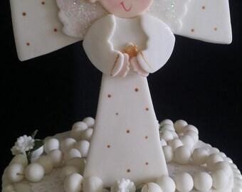 Communion Cake, Rosary Cake Topper, Baptism Cake Topper, White Rosary For Cake, Boy Communion Cake, Communion Decoration, Baptism Cake Decor