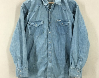 Vintage Guess by Georges Marciano Blue Cotton Denim Pearl Snap Western Shirt Size XL USA
