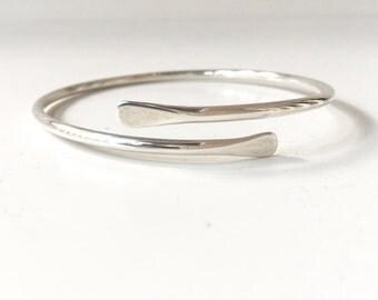 Sterling Silver Bypass Bangle - Adjustable Thick Sterling Silver Stacking Bracelets - Sleek Heavy Adjustable 10 Gauge Bangle