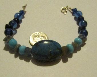 Misty Blue Stone and Bead Bracelet