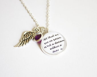Edgar Allan Poe quote necklace. Nevermore. Annabel Lee. The Raven. Dream within a dream. Victorian. Personalized