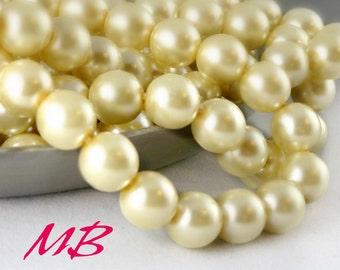 SALE - 50 pcs Ivory Preciosa Glass Pearl Beads, 10mm Cream Round Pearls