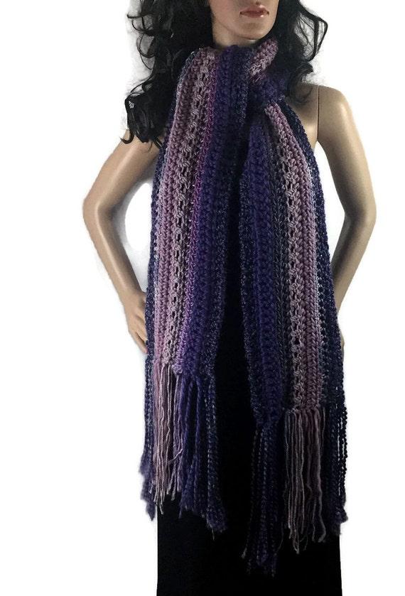 Ragamuffin Fringe Long Winter Scarf - Gray Purple Lavender - Gift Under 50 OOAK Chunky Outlander Knit Crochet Neckwarmer FREE SHIPPING RG08