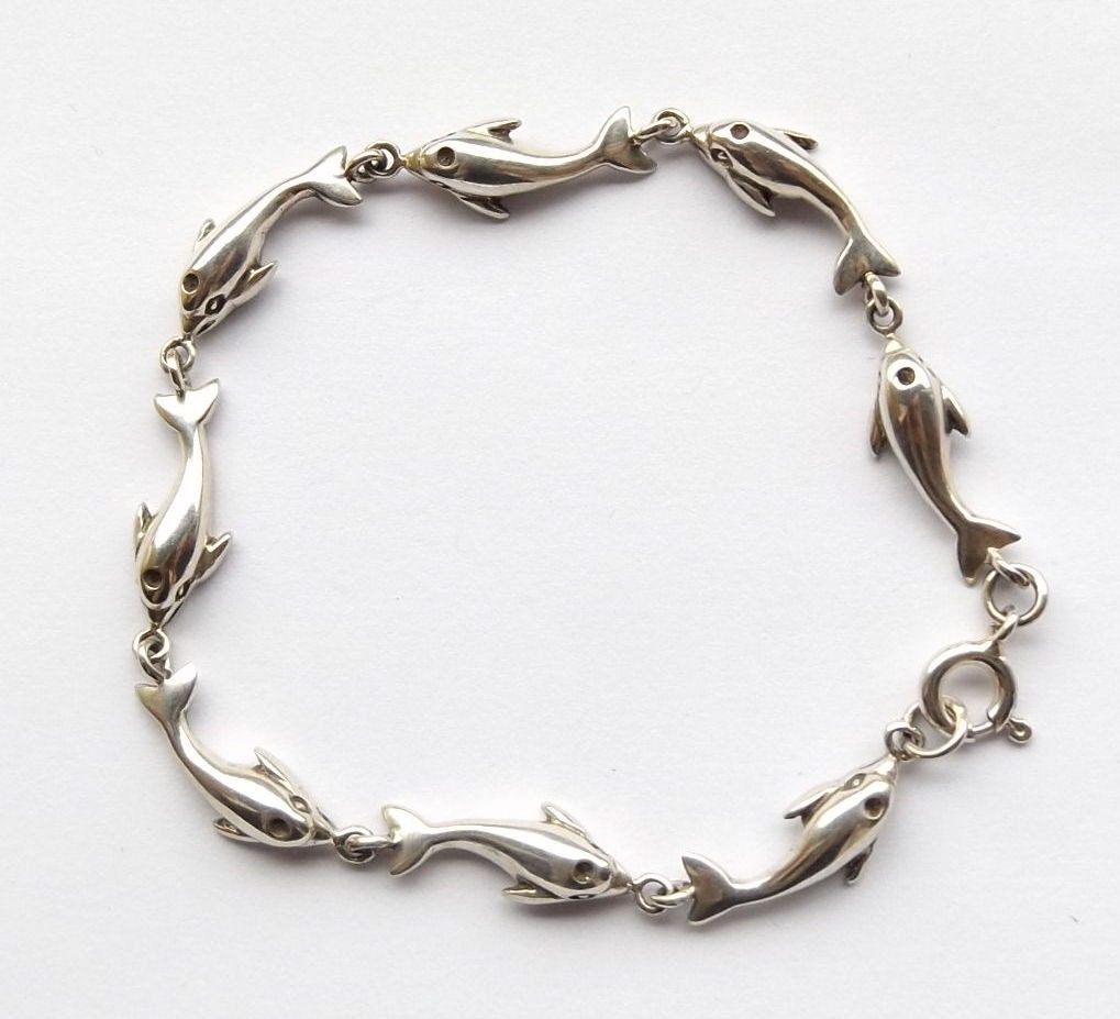 Sterling Silver Dolphin Bracelet By Daisyscabinet On Etsy